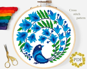 Floral Bird Modern Cross Stitch Pattern PDF, Flowers Counted Cross Stitch Chart, Nature Xstitch Design, Hoop Embroidery, Instant Download