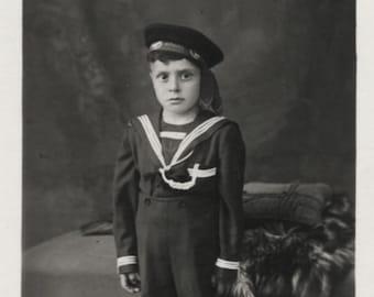 adorable child photo funny toddler boy photo Vintage snapshot photo happy little baby boy childhood memories Yugoslavia RPPC *7040
