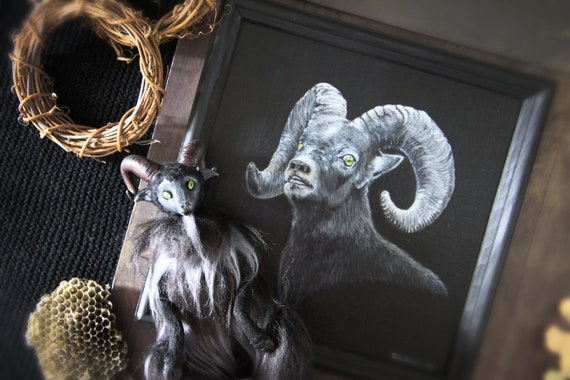 two goats / black phillip / creepy doll and art