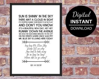Blue sky lyrics | Etsy
