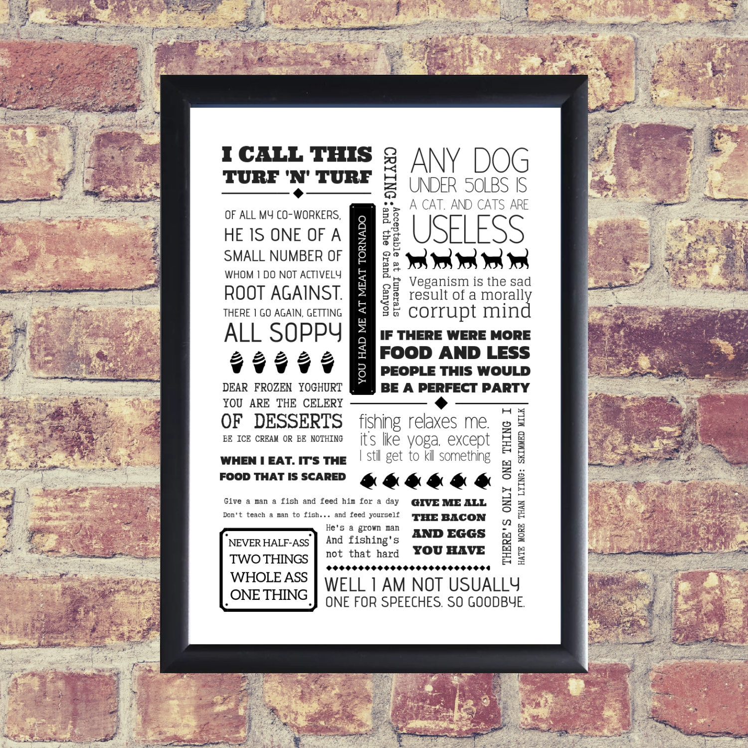 Ron Swanson Parks and Recreation A4 Quote Poster Artwork Typography Print -  Parks and Rec Wall Art