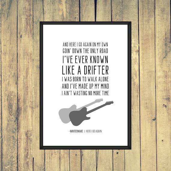 Whitesnake Here I Go Again Song Lyrics A4 A3 A2 Wall Etsy