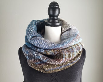 087 Cowl   Blue Grey Earth   Handwoven Cowl   Ombre   Gradient   Handmade