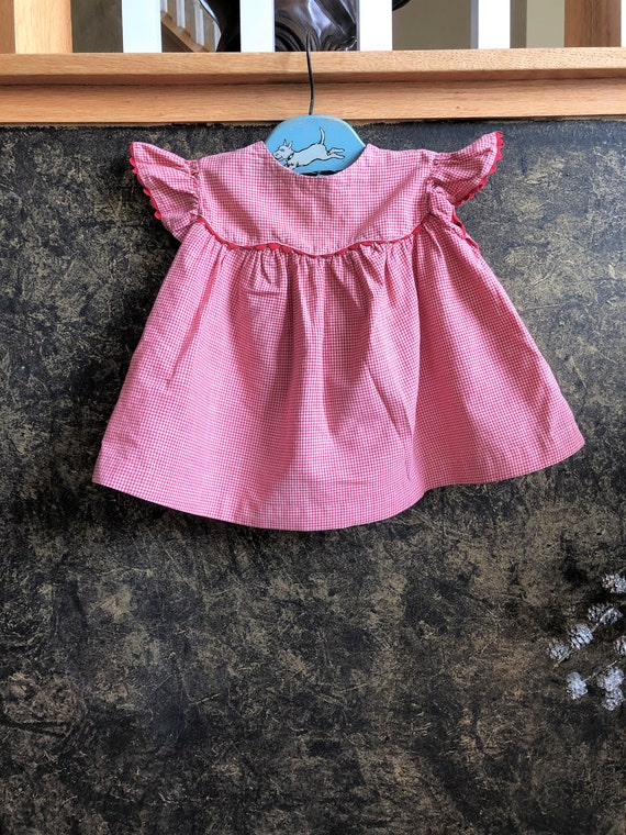 Fun Vintage 1950s/60s Red Gingham Baby Dress