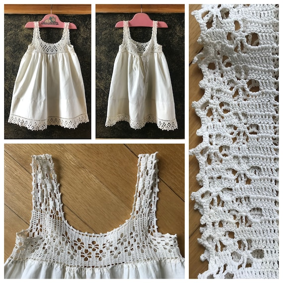 Vintage 1950's Hand Crocheted Top Baby Sun Dress /