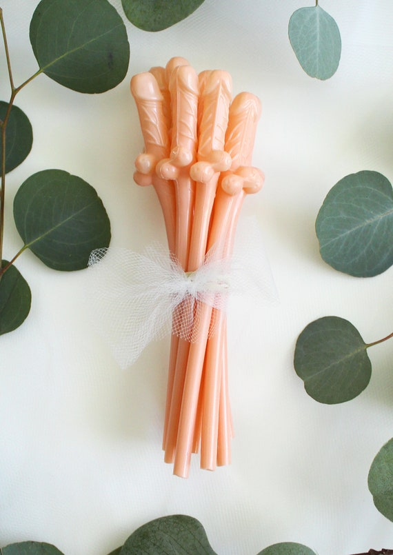 Penis Straws Party Supplies Bachelorette Party Favor NUDE BEIGE 25-50 Bach Bash Party Decorations Bridal Wedding Shower Drinking Game