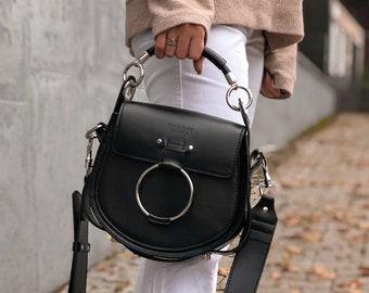 Black leather crossbody saddle bag