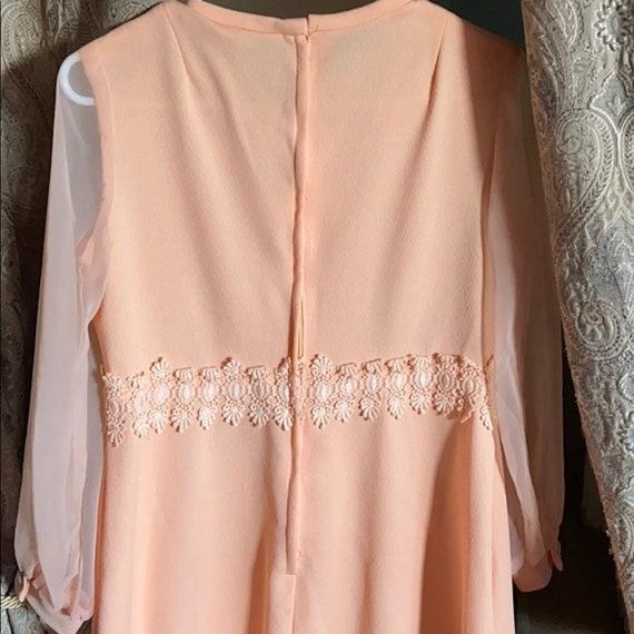 Embroidery 1940/'s Peach SilkSatin Goddess Nightgown with Pastel Felt Flowers