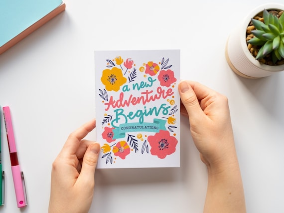 A new Adventure Begins, Congratulations, Hand drawn,engagment, weddings, typography, hand lettering, bright, fun, A6