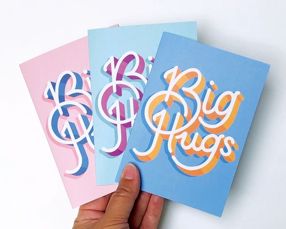 Big Hugs 3 pack Greetings Card, set, thank you, birthday, celebration, mourning, typography, hand lettering, hand drawn, A6