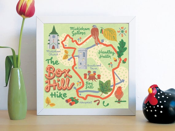 UNFRAMED Illustrate map of Box Hill circular Hike in the Surrey Hills, created to inspire and motivate people to enjoy nature & the outdoors