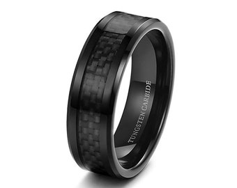 36ed0bcbf73 Mens Wedding Band Black Carbon Fiber 8mm Tungsten Carbide