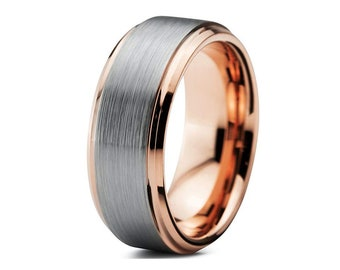 52e25754855 Mens Wedding Band Ring Matte Rose Gold 8mm Tungsten Carbide Ring