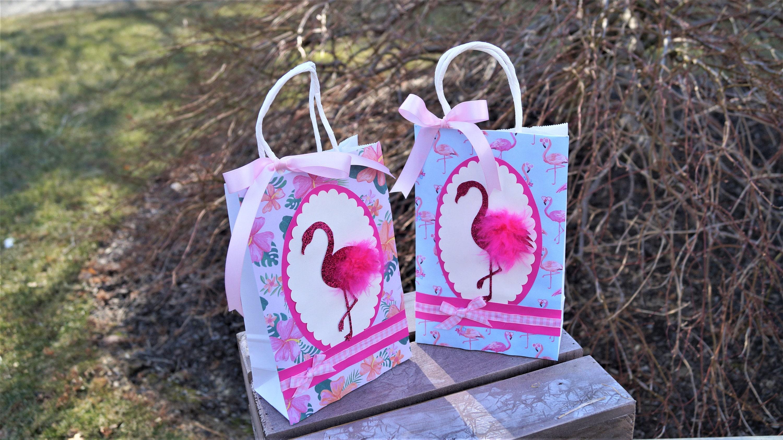 Flamingo Paper Bag Flamingo Goodie Bag Flamingo Party Etsy