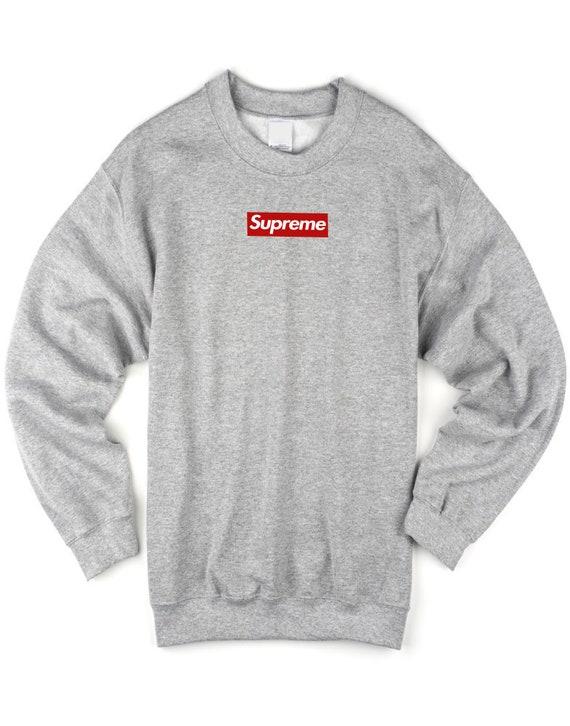 Gris Boîte Logo Suprême Sweatshirt Pull RRICqa
