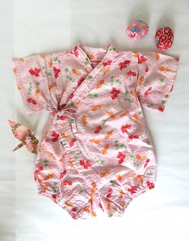 643779cb6d95 Japanese Secondhand Pink Baby Romper Onesie Jinbei Kimono
