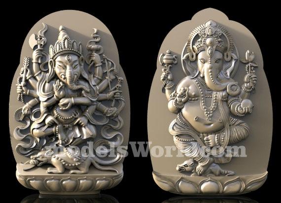 2 3D STL Models Ganesha Panel CNC Router Carving Machine Artcam aspire Cut3D