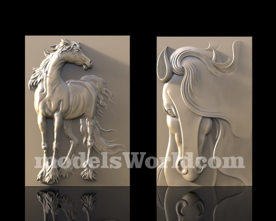 2 3D STL Models Horse Horses Decor for CNC Router Carving Machine Printer Relief Artcam aspire Cut3D