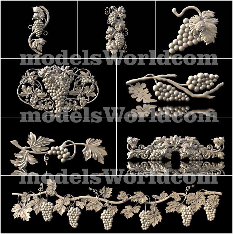 8 3D STL Models Set Grapes Decor Collection for CNC Router Carving Machine Printer Relief Artcam aspire Cut3D