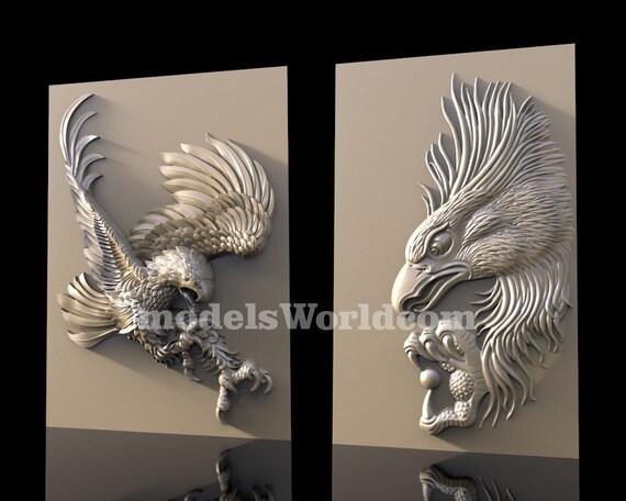 2 3D STL Models Mask for CNC Router Carving Machine  Relief Artcam aspire Cut3D