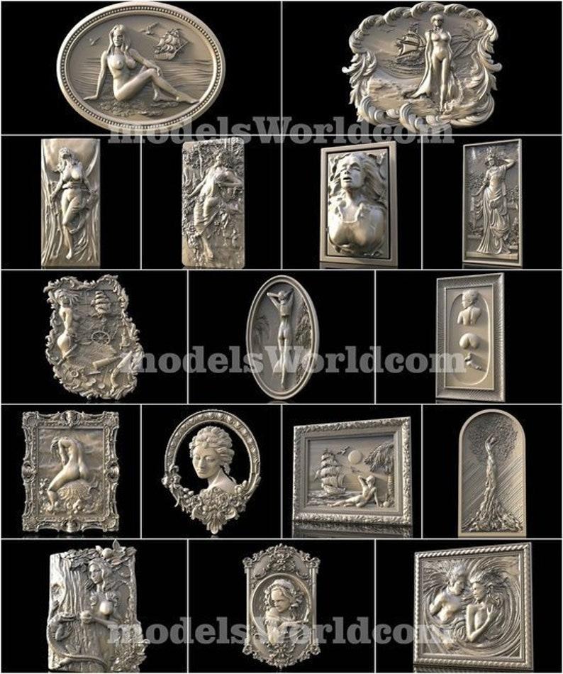 16 3D STL Models Girls Panno Decor Set Collection Panels for CNC Router Carving Machine Printer Relief Artcam aspire Cut3D