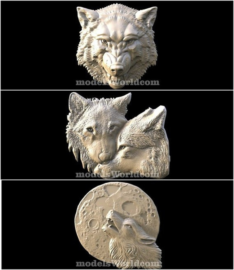 9 3D STL New Wolfs Panel Models  For CNC Router Carving Machine Artcam aspire