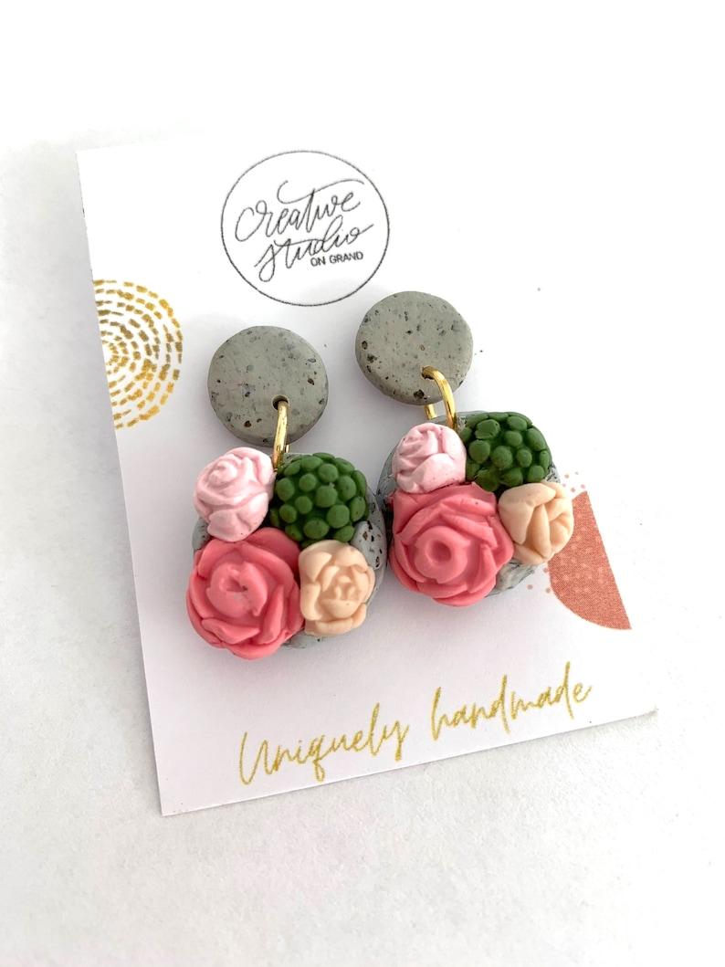 Earrings Flower and Succulent Clay Stud Earrings