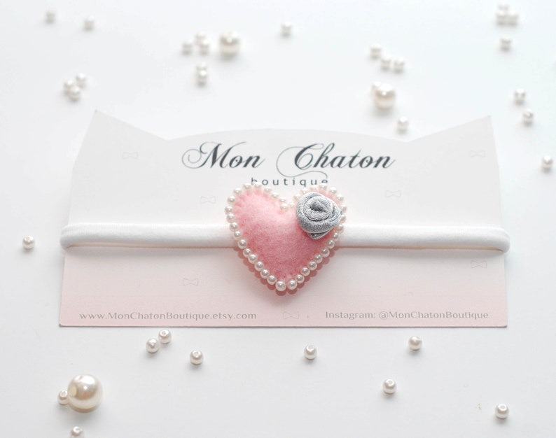 Pink Felt Heart Baby Headband Felt Hair Clip Valentine/'s Day Headband