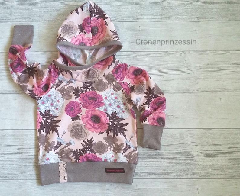 get cheap 224c0 ee039 Hoodie Gr.92/98, Kapuzenpulli, Kinderpulli, Kuschelpulli, Sweatshirt Blumen  Flowers rosa altrosa