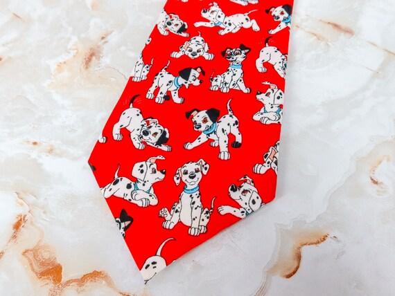 101 Dalmatians Red Necktie features Puppies and Plants 100/% Silk Disney Tie Rack