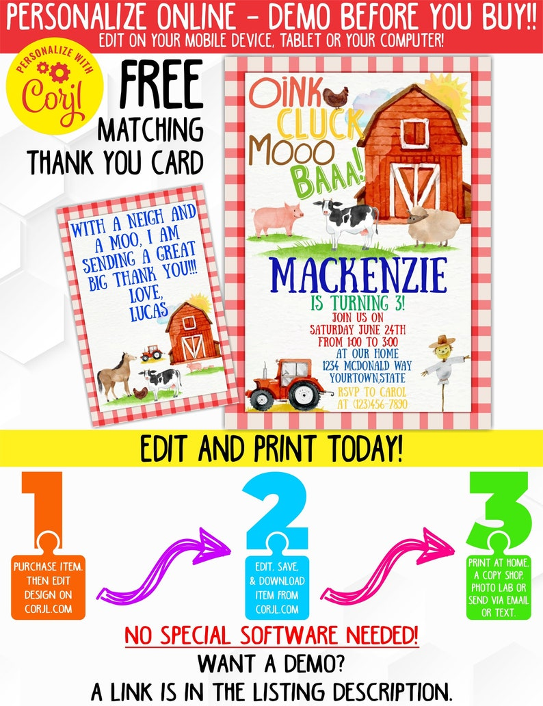 Watercolor Farm Birthday Party Invitation With Matching Thank