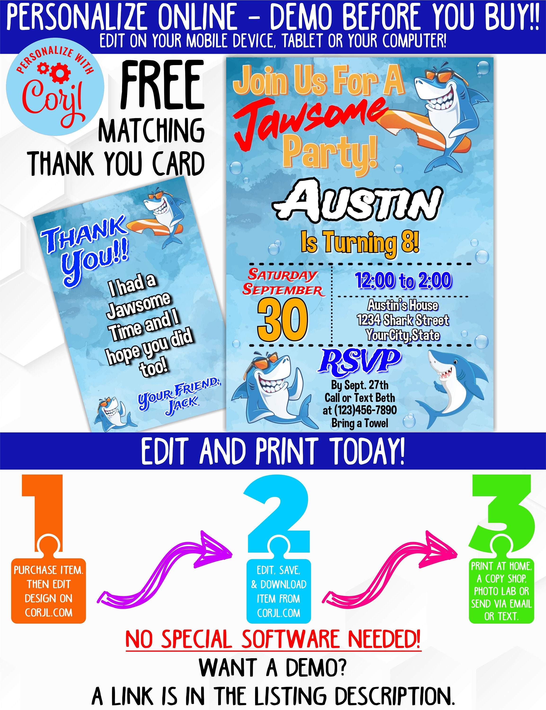 Shark Birthday Party Invitation with Matching Thank You Card | Shark  Birthday Party for Boy | Edit and Print Today! | Pool Party