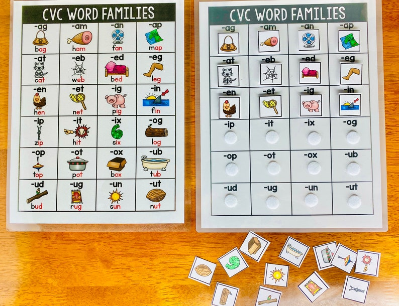 Word Families Matching Activity CVC Words Chart Busy Book ...