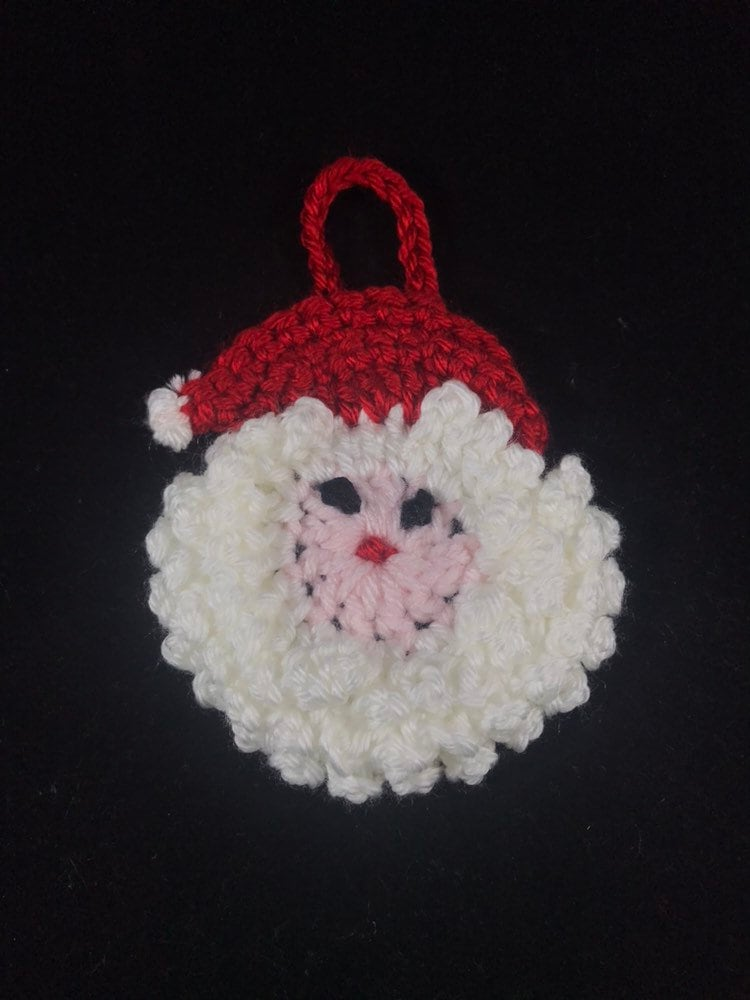 Santa Ornament Crochet Santa Ornament Crochet Santa Face Etsy