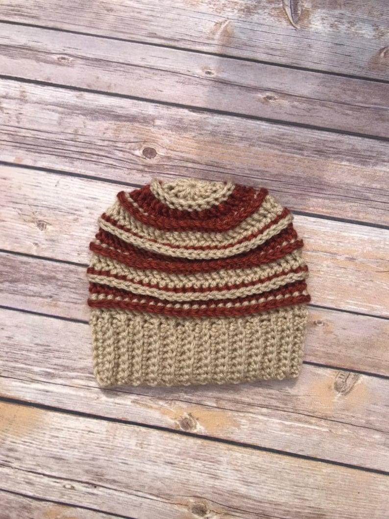 Toddler Boy/'s tan and burnt orange super soft crochet hat toddler winter hat crochet beanie