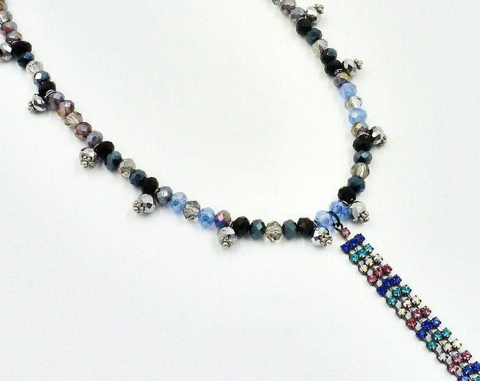 Silver, Pink and Blue Rhinestone Beaded Necklace