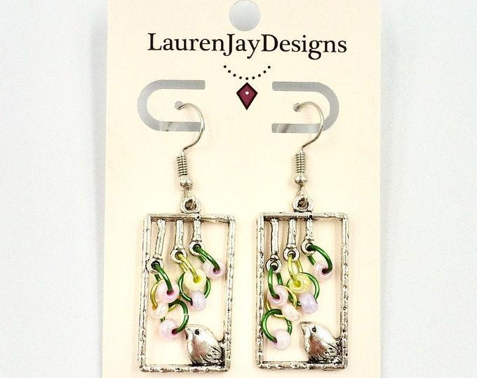 Bird Earrings, Dangle Earrings, Silver Earrings, Beaded Earrings, Chain Earrings, Jewellery Gifts, Colourful Earrings, Gifts, Gifts for Her