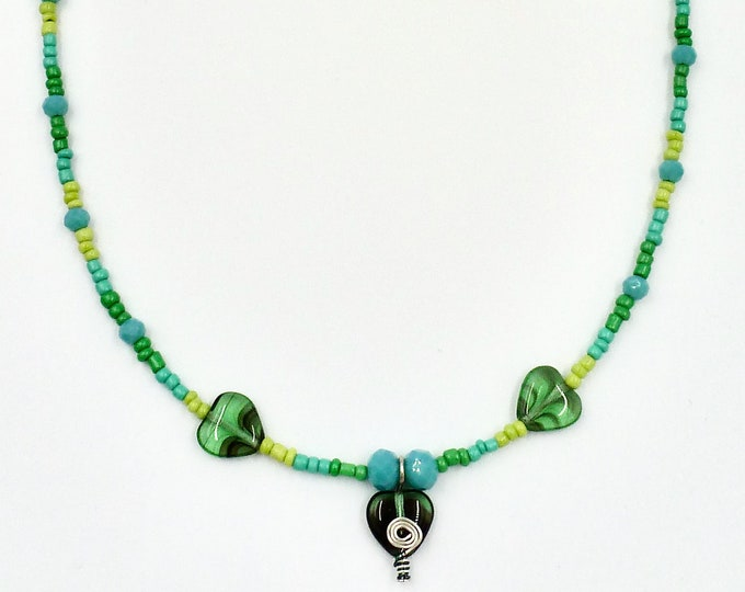 3 Heart Green Necklace