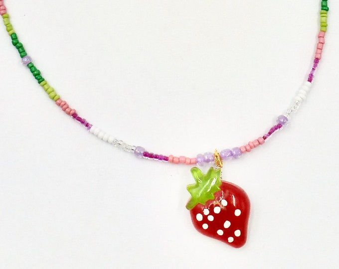 Strawberry Necklaces, Fruit Necklaces, Beaded Necklaces, Red Necklaces, Strawberry Shortcake Necklaces, Gifts for Her, Birthday Gifts, Gifts