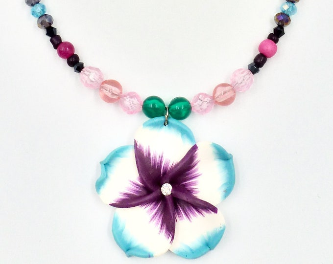 Polymer Clay Flower Pendant Beaded Necklace