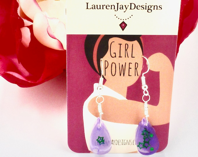 Purple Resin Teardrop Dangle Earrings