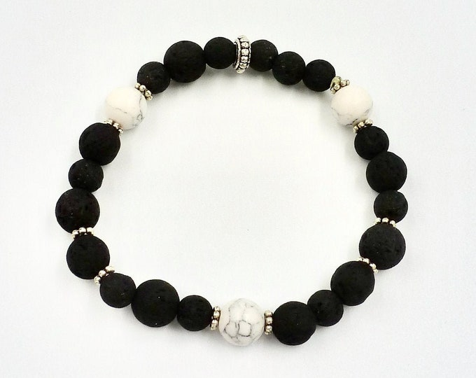 3 Marbled White Accent Beaded Lava Stone Bracelet