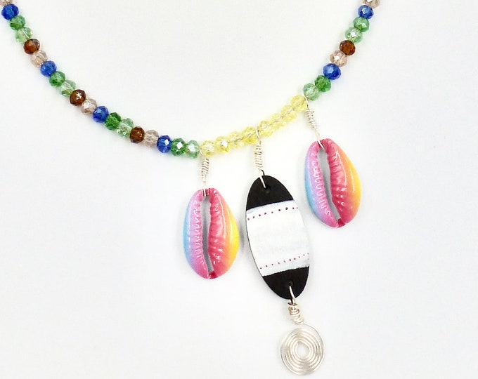 Surfboard and Rainbow Shell Beaded Necklace