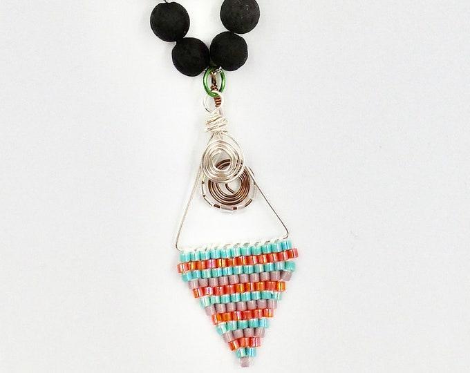 Brick Stitch Pendant Chain Necklace