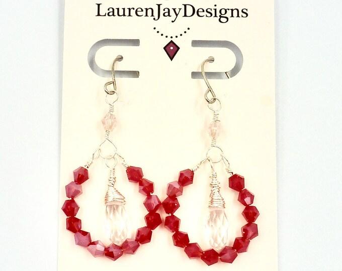 Dangle Hoop Earrings, Beaded Earrings, Red Earrings, Sparkle Earrings, Colourful Earrings, Jewellery Gifts, Gifts for Mom, Mothers Day Gift