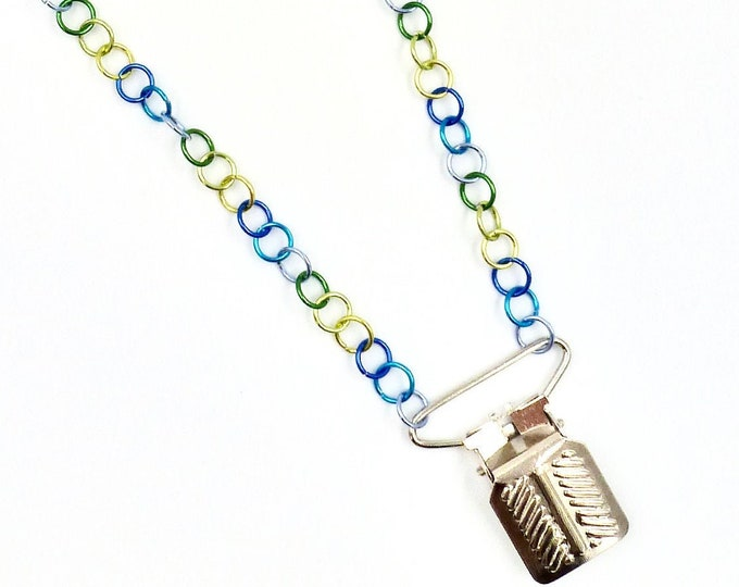 Silver Overalls Grip Pendant Colourful Chain Necklace