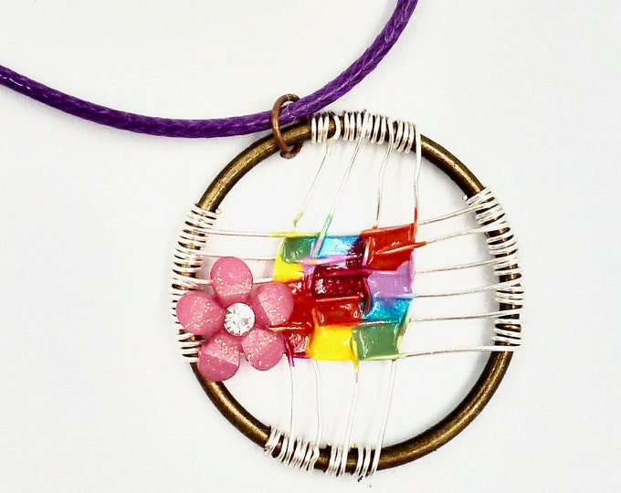 Rainbow Wire Wrapped Pendant Cord Necklace