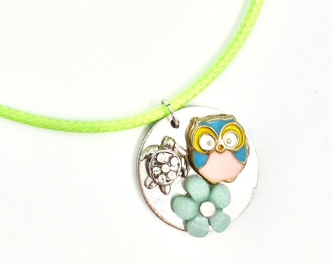 Floral Owl and Turtle Pendant Necklace