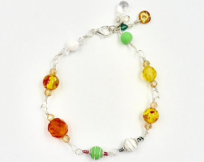 Beaded Bracelets, Linked Bracelets, Colourful Bracelets, Orange Bracelets, Yellow Bracelets, Jewellery Gifts, Birthday Gifts, Gifts for Her