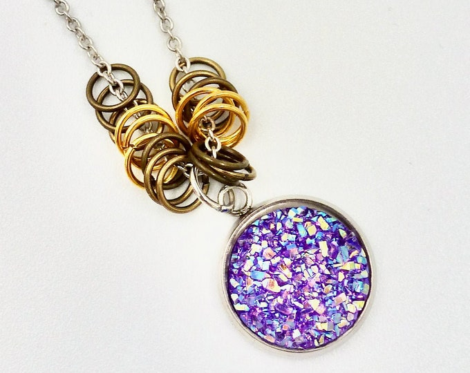 Chain Necklaces, Charm Necklaces, Crystal Necklaces, Purple Necklaces, Silver Necklaces, Jewellery Gifts, Gifts for Mom, Sparkle Necklaces